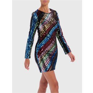 Forever Unique Sequin Long-Sleeved Bodycon Dress
